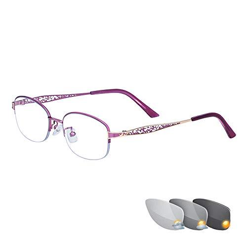 Stylische ultraleichte Lesebrille für Damen, Gleitsichtglas, Blaulicht-Blocker-Lesegerät, Fern- und Nahbereich mit doppeltem Verwendungszweck, Sonnenbrille für den Innen- und Außenbereich, Anti-Stra