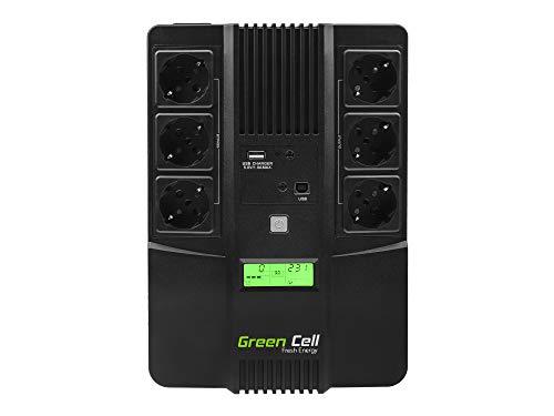 Green Cell® UPS USV Unterbrechungsfreie Stromversorgung 800VA (480W) mit Überspannungsschutz 230V Line-Interactive Spannungsregelung AVR USV-Anlage USB/RJ45 6X Schuko Ausgänge LCD Bildschirm