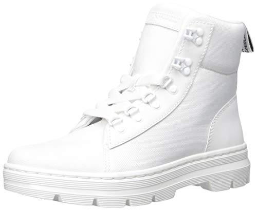 Dr. Martens Women's Combs W Combat Boot, White+White Ajax+Extra Tough Ballistic, 9