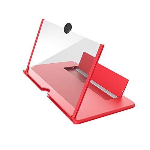 Lupa de pantalla LYEC3, soporte plegable para teléfono móvil con amplificador de pantalla, lupa de 12 pulgadas HD para proyector 3D de vídeo y transmisión en vivo (rojo)