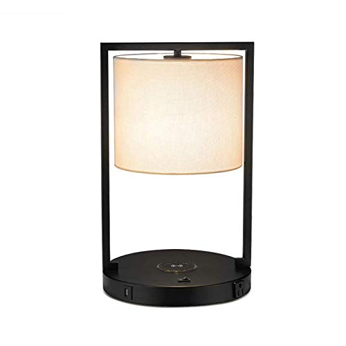 Ning Night Bedside Table Desk Lamp,Wireless Charging Pad and USB Charging Ports,Black Charger Base Power Switch Button,for Bedroom Nightstand Living Room