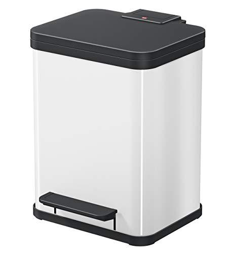 Hailo Öko duo Plus M | Mülltrenner 2 x 9 Liter | 18 Liter | Soft Close Deckeldämpfung | 2-In-1 Treteimer mit Inneneimern | Mülleimer rechteckig | Made in Germany | Stahlblech | weiß