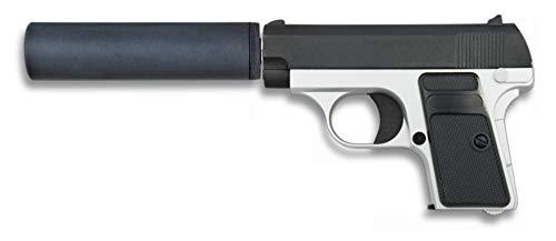 Tiendas LGP, Albainox 35721 Arma Airsoft, Pistola Aire Suave, con silenciador, Potencia 0,8 Julios, Munición Bolas PVC 6 mm.