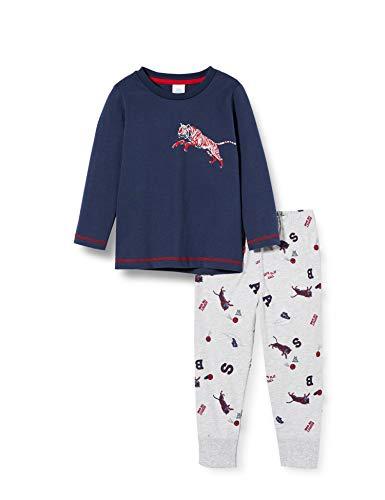 Sanetta Jungen Schlafanzug Nordic Blue Sportlicher Langer Pyjama in Einer stimmigen Farbkombination und mit kreativen Prints, Blau, 098