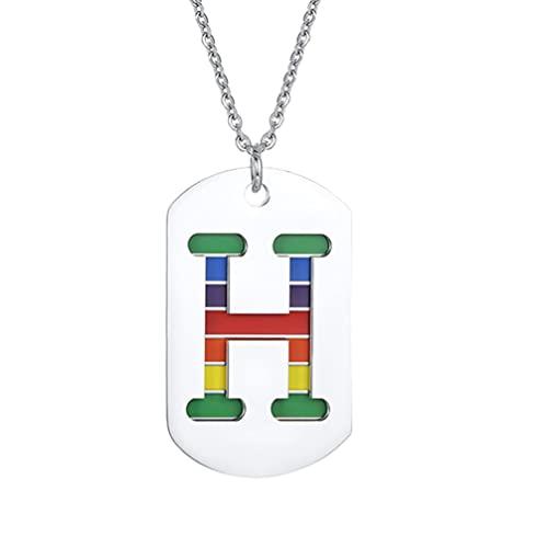 Holibanna Colar com pingente de arco-íris, letra inicial com pingente de palavras, corrente de pescoço de camada dupla para homossexuais, gays lésbicos, colorido, H