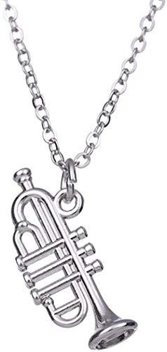 ASDF Collar con Colgante de Instrumento Musical de Trompeta pequeño para niñas, niños, de Moda Se Puede Usar como combinación para vestirse, Estilo Simple y Generoso, Simple