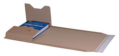 KK Verpackungen® Höhenvariable Versandverpackung für Büchersendungen | 25 Stück, DIN A4, 304x215x80mm | Buchverpackung, Wickelverpackung mit Selbstklebeverschluss & Aufreißfaden