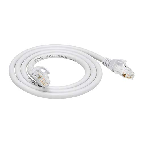 Amazon Basics Ethernetkabel Cat6, knickgeschützt, 91 cm, 5 Stück, Weiß
