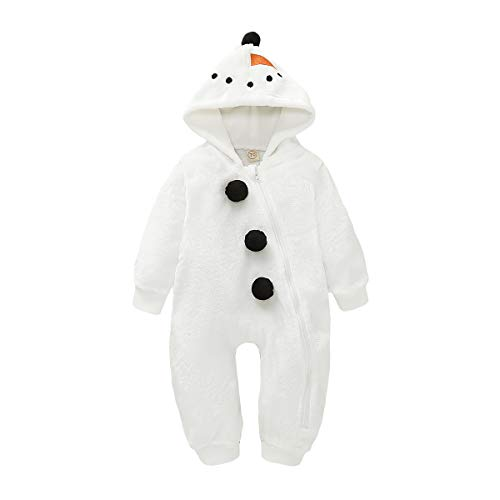 Baby Boy Girls Christmas Romper Velvet Hoodied Snowman Jumpsuit Toddler Costumes Xmas Clothes (White, 0-6 Months)