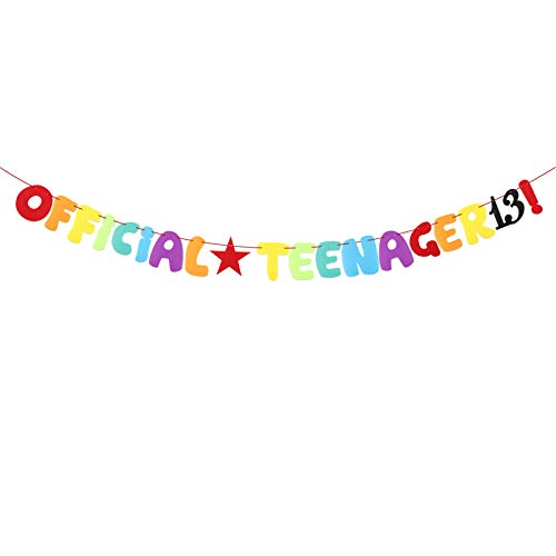 Official Teenager 13th Birthday Felt Banner Star Garlands Backdrop Bunting Thirteen Years Old Photo Booth Background DIY Party Decoration Supplies for Boys or Girls Living Room (Multicolor)
