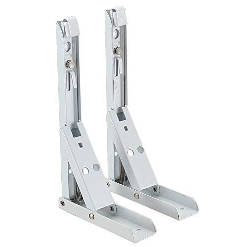 Soportes Plegables para Estantes Escuadras de Metal Soporte Triangular - 290 * 130mm Soporte de Esquina Desmontable Forma Rectángulo de Acero Inoxidable para Colgar en la Pared(2 Piezas, Blanco)