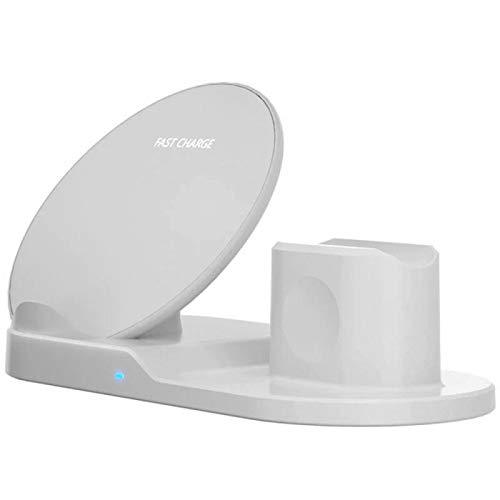 RJ Home Dock de Cargador inalámbrico 3 en 1 para iPhone Airpods Carga rápida para Apple Watch para Samsung Carger Accesorios para teléfonos móviles (Plug Type : White)
