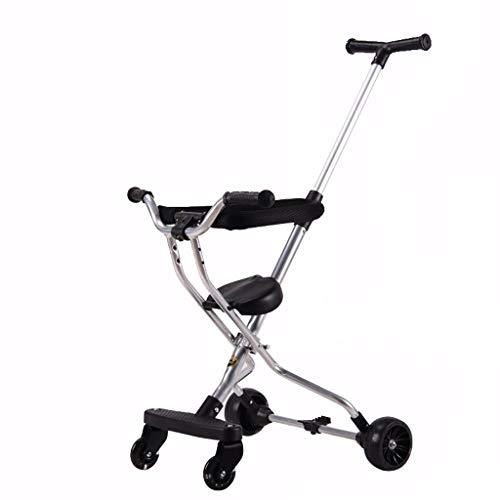 Quad para niños, plegable, con luz, para niños de 1 a 3 a 6 años, para interior y exterior (color gris)