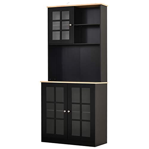 HOMCOM Kitchen Storage Pantry with 3 Cabinets, 2 Open Shelves and Large Countertop, Black