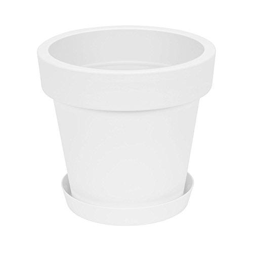 Prosperplast Lofly - Maceta con plato, de plástico, modelo clásico, 35cm de diámetro, color blanco