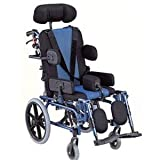 Karma Recliner Junior Reclining Foldable Wheelchair for Cerebral Palsy Children (Blue and Black)