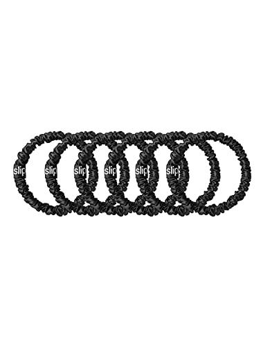 Slip Silk Skinnie Scrunchies in Black - 100% Pure 22 Momme Mulberry Silk Scrunchies for Women - Hair-Friendly + Luxurious Elastic Scrunchies Set (6 Scrunchies)