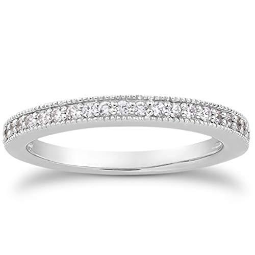 Anillo de boda de oro blanco de 14 quilates con diamantes de imitación milgrain de 1/2 alrededor