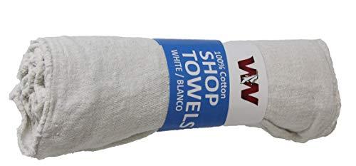"SupremePlus Auto-Mechanic Shop Towels, Shop Rags 100% Cotton Commercial Grade Perfect for Your Garage, Auto Body Shop (13""x14""), 12 Pack (White)"
