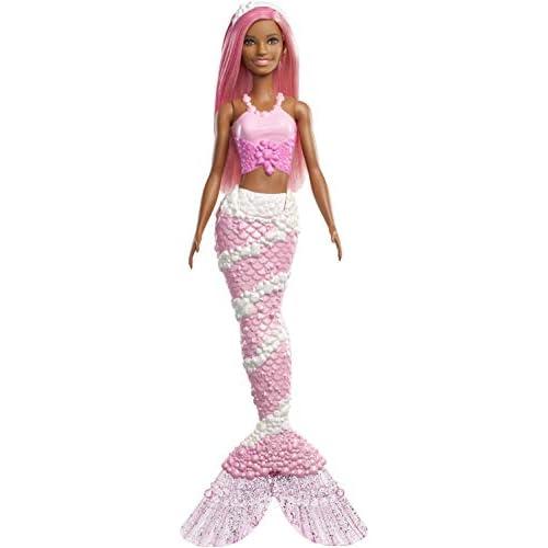 Barbie- Dreamtopia Bambola Sirena con Coda Tema Gioielli e Capelli Rosa, FXT10
