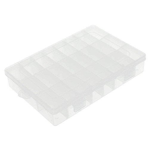 2 x Mehrzweck-Aufbewahrungsbox mit 24 Fächern, Kunststoff, transparent