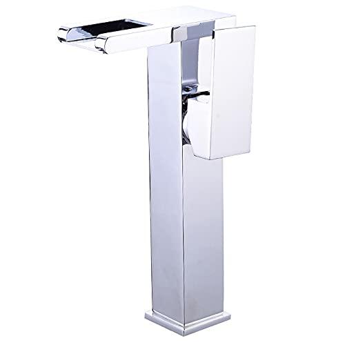 Rubinetto per lavabo, cascata, tubo flessibile di alimentazione dell'acqua con gruppo di drenaggio, rubinetto per WC, miscelatore monocomando, foro singolo, può essere utilizzato per lavabo da appog