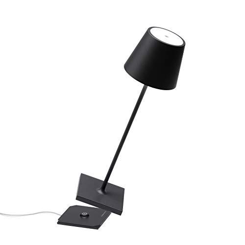 Zafferano - Lámpara LED de mesa Poldina Pro, regulable, de aluminio, IP54, para interiores y exteriores, regulador de intensidad táctil, 38 cm de altura, enchufe europeo, color negro