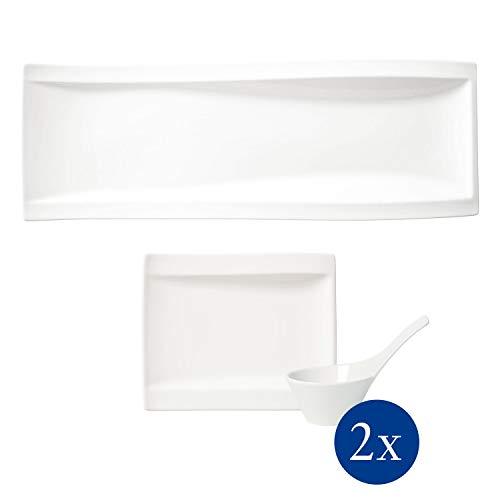 Villeroy & Boch - NewWave Antipasti-Set, 5 tlg., zeitgemäß servieren und genießen, Premium Porzellan, spülmaschinen-, mikrowellengeeignet, weiß