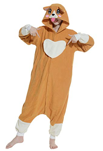 Jumpsuit Onesie Tier Karton Fasching Halloween Kostüm Lounge Sleepsuit Cosplay Overall Pyjama Schlafanzug Erwachsene Unisex Hund for Höhe 140-187CM