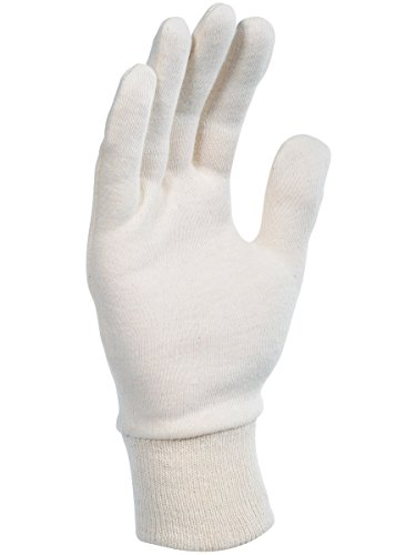 Gant coton interlock écru. Version lourde. Poignet tricot. Ambidextre. Singer JE300F. Taille 10