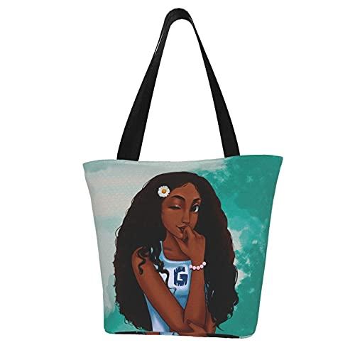 EZYES African American Girl Tote Bag Afro Woman Shoulder Bag Black Girl Handbag Large Capacity For Work Trip Shopping School black Size: One Size