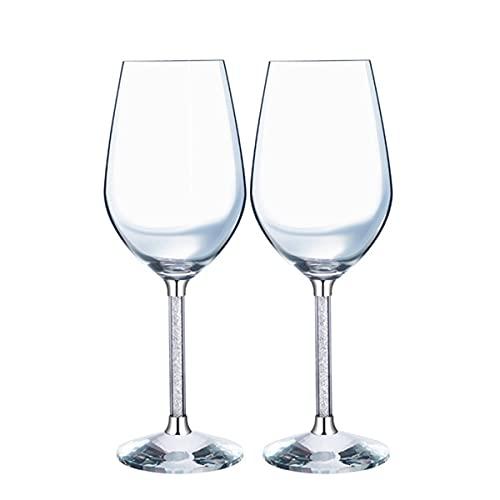 PQQ Copas de Vino Copas de Agua de Cristal soplado a Mano Vasos Grandes Copa de Vino con Tallo Largo Ideal para cata de vinos Aniversario de Bodas Juego de 2 (Color : Black)