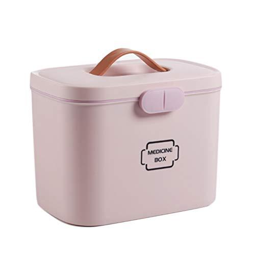 Ysoom Medizinbox 27 x 18 x 17 cm Plastik Erste Hilfe Box Aufbewahrungskasten Medizin Box mit Griff mit herausnehmbarem Ablagefach Arzneimittelbox Medikamentenbox Organizer (Pink)