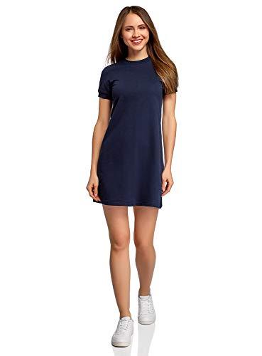 oodji Ultra Damen Lässiges Kleid mit Kurzen Ärmeln, Blau, DE 38 / EU 40 / M