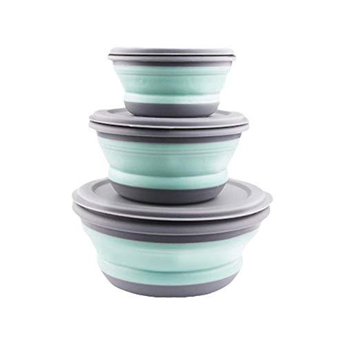 BSTCAR 3 Stück Schüssel Faltbar, Faltbare Schüssel Tragbare Frischhaltedosen mit Deckel Silikon,Faltschüssel Camping Wandern Küche Schule im Freien