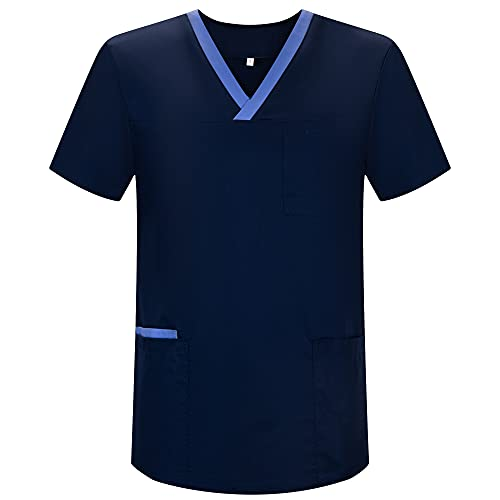 MISEMIYA - Casaca Unisex MÉDICO Enfermera Uniforme Limpieza Laboral ESTÉTICA Dentista Veterinaria Sanitario HOSTELER�A - Ref.G713 - M, Azul Marino