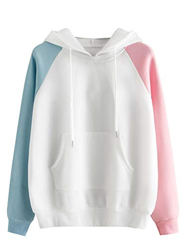 SweatyRocks Womens Long Sleeve Casual Fleece Drawstring Hoodie Sweatshirt Tops Pink Blue L