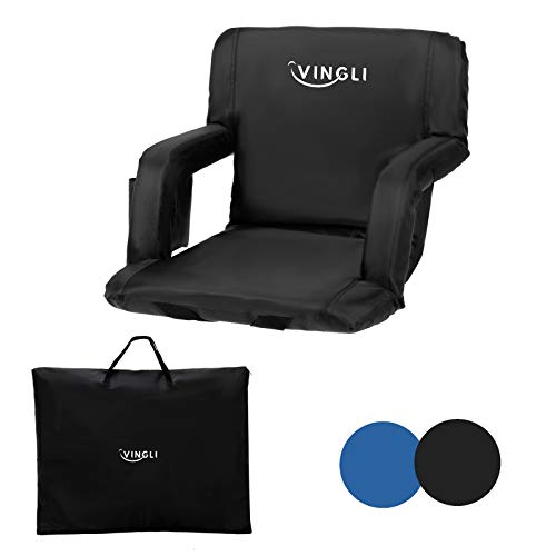 PEXMOR Extra Wide 25'' Stadium Seats for Bleachers with Back Support & Carrying Bag, Reclining Chair with Two Pockets for Drinks, Portable Padded Shoulder Straps, Armrests, Waterproof Anti-Slip Bottom