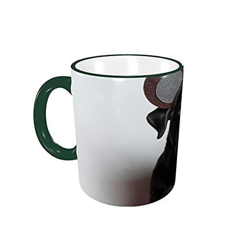 Taza de café Tazas de café Divertidas para Perros Labrador Tazas de cerámica con Asas para Bebidas Calientes - Cappuccino, Latte, Tea, Cocoa, Tea Cup, Coffee Gifts 12 oz Green