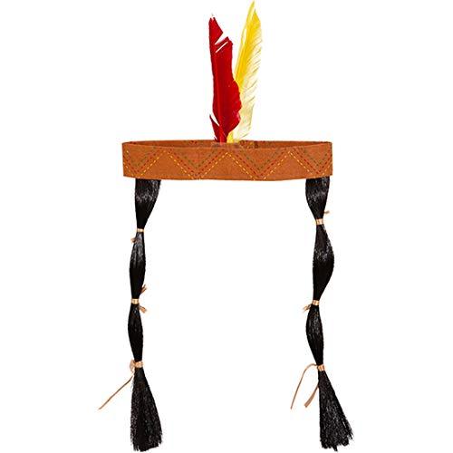 Banda para el Cabello con Trenzas Accesorio Disfraz de Indio / Adorno para la Cabeza Indio con Plumas para Adulto / Adecuado para Carnaval y Festivales