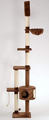 animal-design Katzen-Kratzbaum deckenhoch XXL beige oder braun - Lucy - mit Liegemulde, Wohnhöhle, Spielseil und Spielmaus, Farbe:braun
