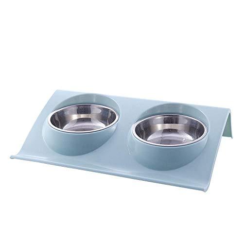 TazóN Para Mascotas, Doble TazóN De Acero Inoxidable Para Alimentos Para Perros El Doble TazóN, Puede Separar El Agua Y Los Alimentos Por Separado O Usar Dos Mascotas Juntas, Con 3 Colores,Blue