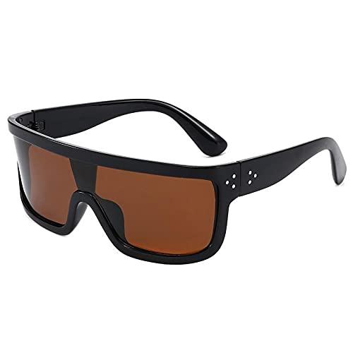 Gafas de sol polarizadas cuadradas con lente degradada de espejo de una pieza para hombres y mujeres, gafas deportivas clásicas, tonos marrones