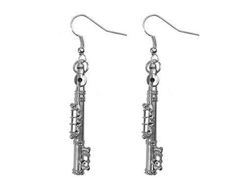 Miniblings flauta flautas pendientes de caja - manera hecha a mano joyería de plata I 4cm caja de herramientas - pendientes de plata pendientes