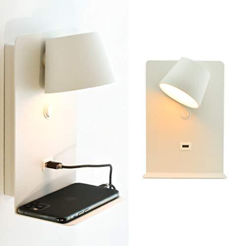 BarcelonaLED Lámpara Aplique de pared LED Aluminio Blanco con base de carga USB, foco orientable de 6W blanco cálido 2700K e interruptor para Dormitorio Cabecero Lectura Salón