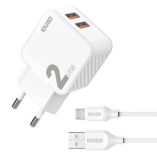 IDUSD Cargador de Enchufe Pared 2 Puertos USB 2.4 A con Cable USB Micro USB 2 Metros Blanco, Compatible Samsung S7 S6 S5 S4, Huawei Xiaomi Redmi OPPO Realme LG TCL Vivo Tablet Batería Externa