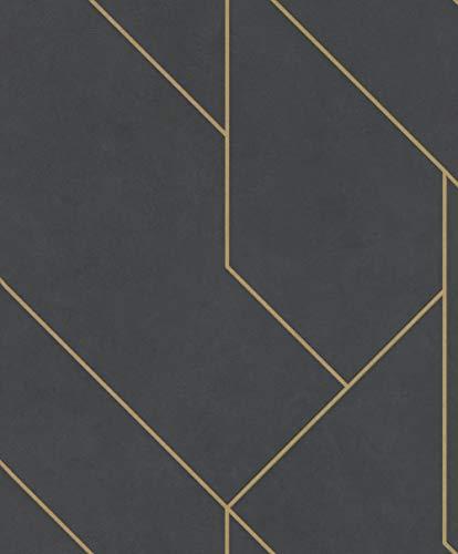 Rasch Tapeten (Industrial) Schwarz goldene 10,05 m x 0,53 m Brick Lane 427431 Vliestapete