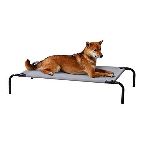 Amazon Basics - Cama elevada transpirable para mascotas, mediana (110 x 65 x 19 cm), gris