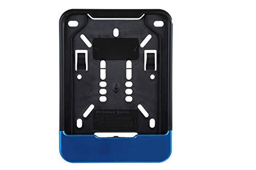 1x Kennzeichenhalter für Versicherungskennzeichen 135 x 110 mm (für Mofa - Roller - S-Pedelec - E-Bike - Moped - L-Krad - Leichkraftrad) Mit Blau gebürst Leiste