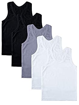 Coobey 5 Pack Toddler Kids Cotton Tank Top Undershirts Boys Girls Soft Undershirt Tees  Black/White/Gray 3-4T